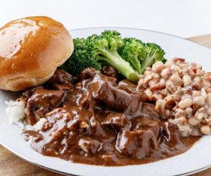 MONDAY: BEEF TIPS W/RICE & GRAVY OR PORK TENDERLOIN W/ RICE & GRAVY and your choice of two sides: WHITE BEANS, STEAMED BROCCOLI, OR SQUASH CASSEROLE