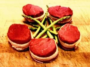 Filet Mignon Steaks w/ Bacon & Asparagus